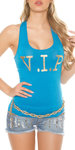 Sexy KouCla Tanktop met V.I.P. print in Turquoise
