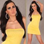 Sexy lange bandeau top met steentjes in geel