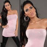 Sexy lange bandeau top met steentjes in roze