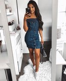 Denim Bardot Button Up Bodycon Dress