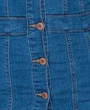 Denim Bardot Button Up Bodycon Dress