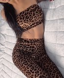 Leopard Print Tube Top & Flared Trouser Co Ord Set
