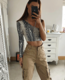 Snake Print One Shoulder Long Sleeve Crop Top