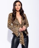 Leopard Print Flare Sleeve Tie Front Top