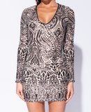 Abstract Sequin Front V Neck Bodycon Jurk