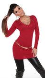 Sexy KouCla Longsweater met Ketting in Rood