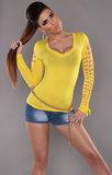 Sexy shirt met veter details en V-Nek in Geel