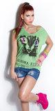 Trendy oversized top met print in licht groen_