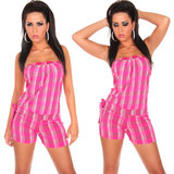 Sexy Bandeau Jumpsuit Hotpants Look in Fuschia