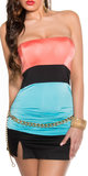 Sexy Colour Blocking Bandeau Top in Coral/Turquoise