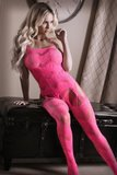 To The Moon Jarretel Catsuit - Neon Pink_