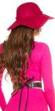 Trendy Felt Hoed Boho Style in Fuschia