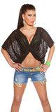 Sexy wrap shirt 2 way style in zwart_