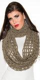Trendy Filet Crochet Loop Sjaal in Cappuccino