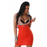 Sexy Oranje Jurk met V-Cut