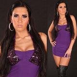 Sexy nek mini jurk met pailletten in paars