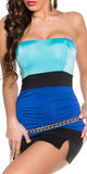 Sexy Colour Blocking Bandeau Top in Turquoise/Blauw