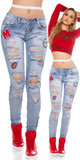 Sexy Skinny Jeans DeStroyed Look met Patches