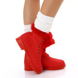 Sexy Furry Boots S172 in Rood