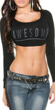 "Sexy ""Awesome"" Crop Jumper in Zwart"