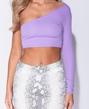 One Shoulder Long Sleeved Crop Top in Lila