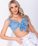 Knit Rib Ruffle Trim Tie Front Bustier Crop Top in Blauw