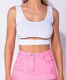 Cut Out Front Rib Knit Crop Top in Wit