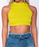Rib Knit High Neck Crop Top in Lime