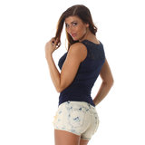 Sexy Topje met Embroidery TS549 in Blauw