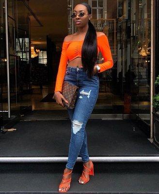Ruching Detail Long Sleeve Bardot Crop Top in Oranje