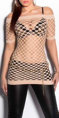 Sexy Net Shortsleeve in Beige