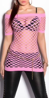 Sexy Net Shortsleeve in Roze