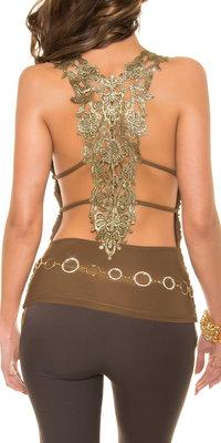 Sexy KouCla Party Top met Gouden Embroidery in Bruin