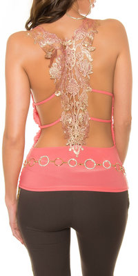 Sexy KouCla Party Top met Gouden Embroidery in Coral