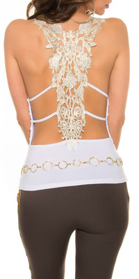 Sexy KouCla Party Top met Gouden Embroidery in Wit