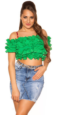 Sexy Carmen Crop Shirt in Groen