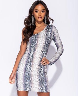 Snake Print One Shoulder Dress