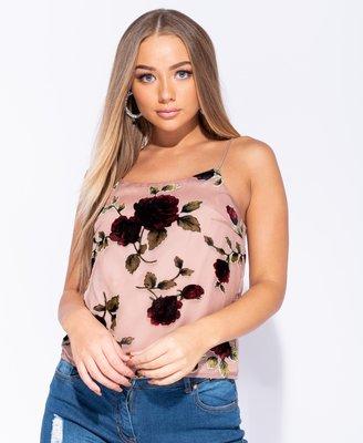 Rose Flocked Print Cami Top