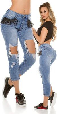 Sexy 7/8 Jeans Destroyed Look met Fringes