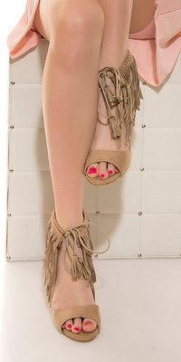 Sexy High Heel Open Suede Look met Fringes in Beige
