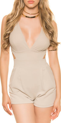 Sexy KouCla Playsuit met Sexy Cut in Beige