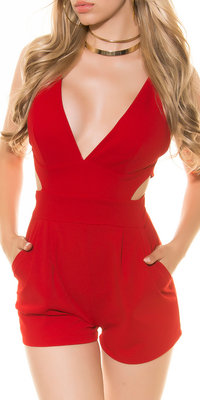 Sexy KouCla Playsuit met Sexy Cut in Rood