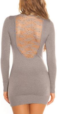 Sexy KouCla Longsweater met Kant en Studs in Grijs