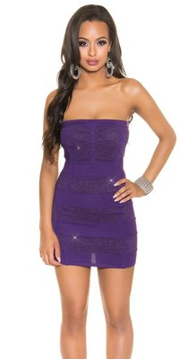 Sexy Bandeau Knitted Minidress met Lurex in Paars