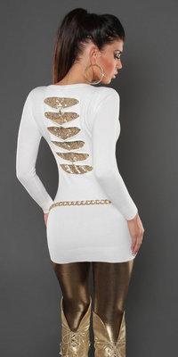 Sexy KouCla longsweater met pailletten op de rug in wit