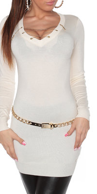 Sexy KouCla Longsweater met Ketting in Wit