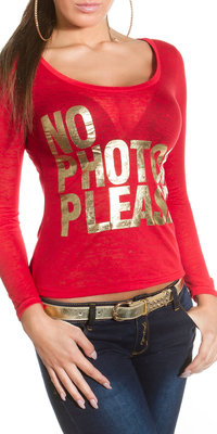 "Trendy KouCla longsleeve shirt ""No photos please"" in Rood"