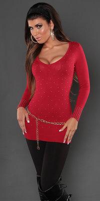 Sexy Koucla long sweater met studs en kant in Rood