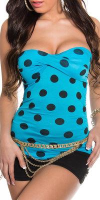 Sexy bandeau top met stippen in turquouise