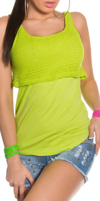 Sexy 2 in 1 80's look top met net details & pailettes in groen